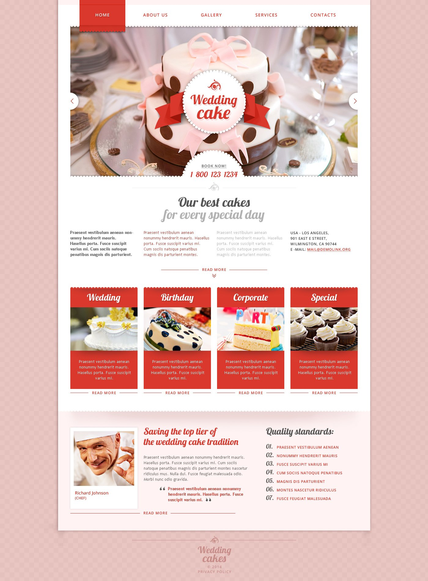 Cake Designs Website : Wedding Cake Responsive Website Template #48177