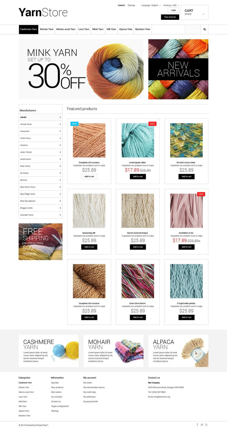 Yarn Store PrestaShop Theme New Screenshots BIG