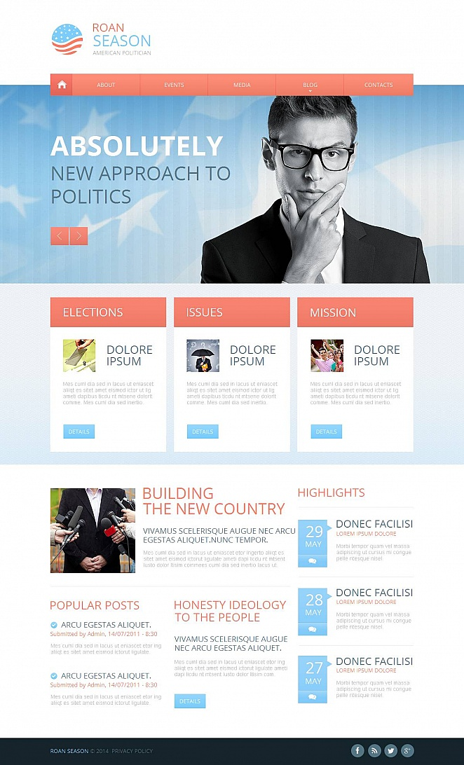 Political Website Template with a Fullwidth Image Slider - image
