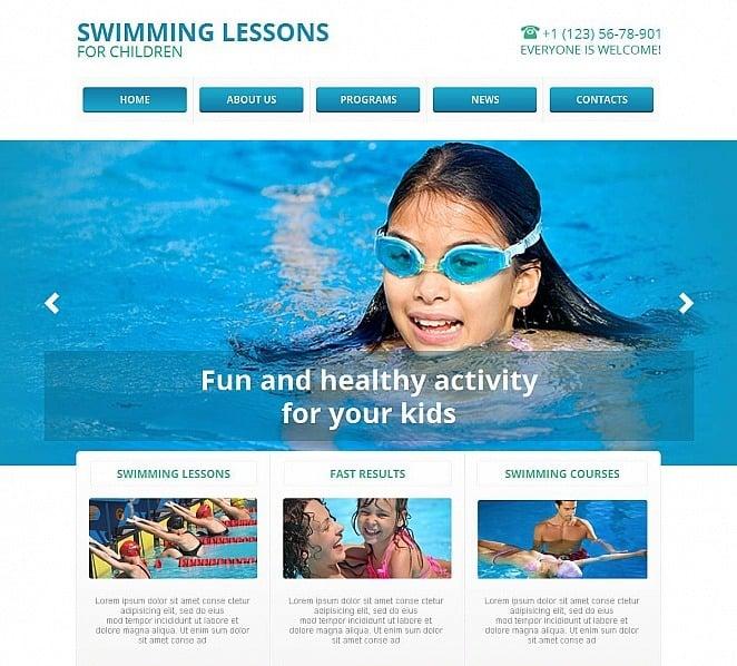 Premium Moto CMS HTML Template over Zwemschool  New Screenshots BIG