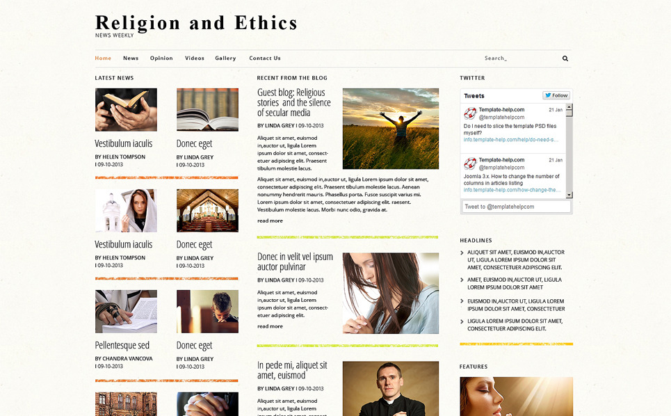 Plantilla Joomla Responsive para Sitio de Religión New Screenshots BIG