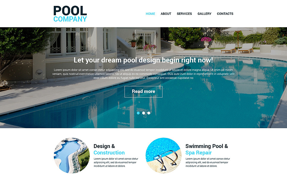 Responsive Swimming Pool Templates Web Sitesi Şablonu New Screenshots BIG