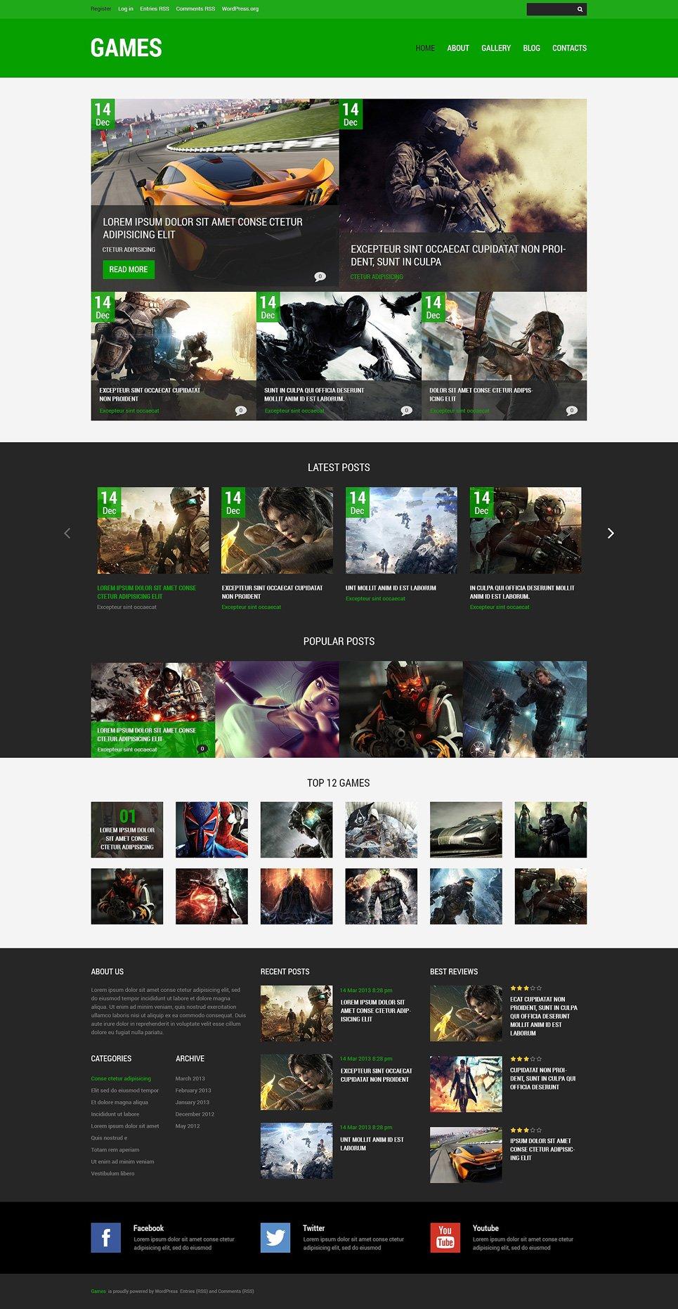 Адаптивный шаблон сайта на тему игровой портал #48248
