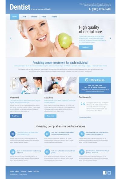Адаптивный WordPress шаблон №48295 на тему стоматология