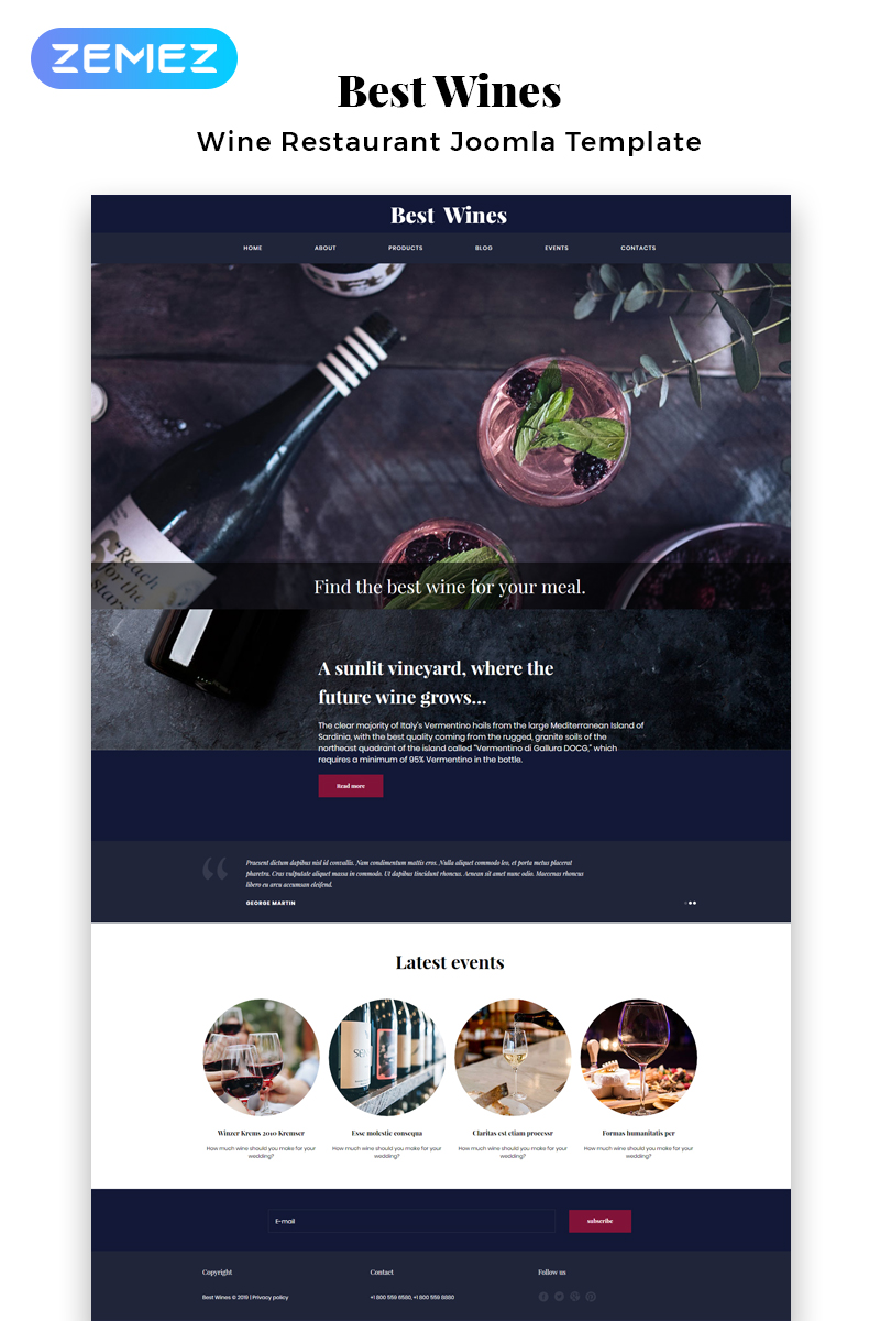 Best Wines - Wine Multipage Elegant Joomla Template