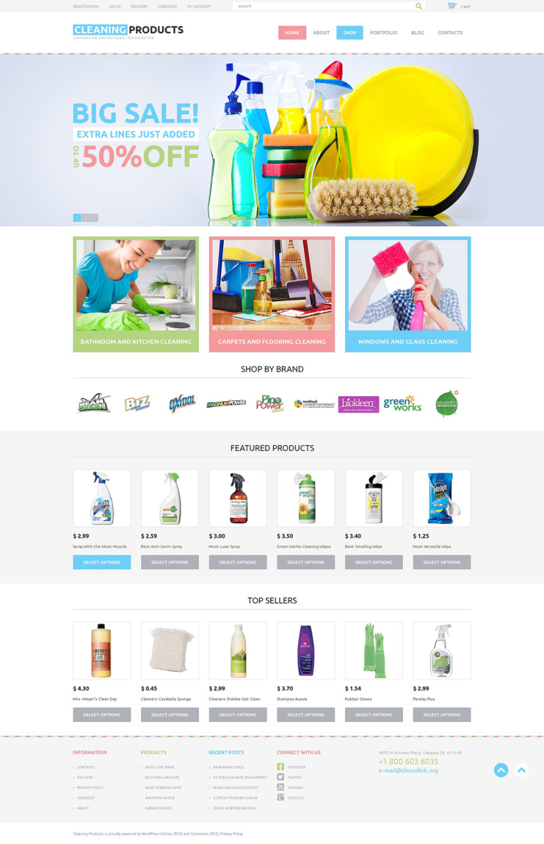 Cleaning Responsive WooCommerce Theme New Screenshots BIG