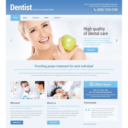 Dentist - WordPress Template based on Bootstrap