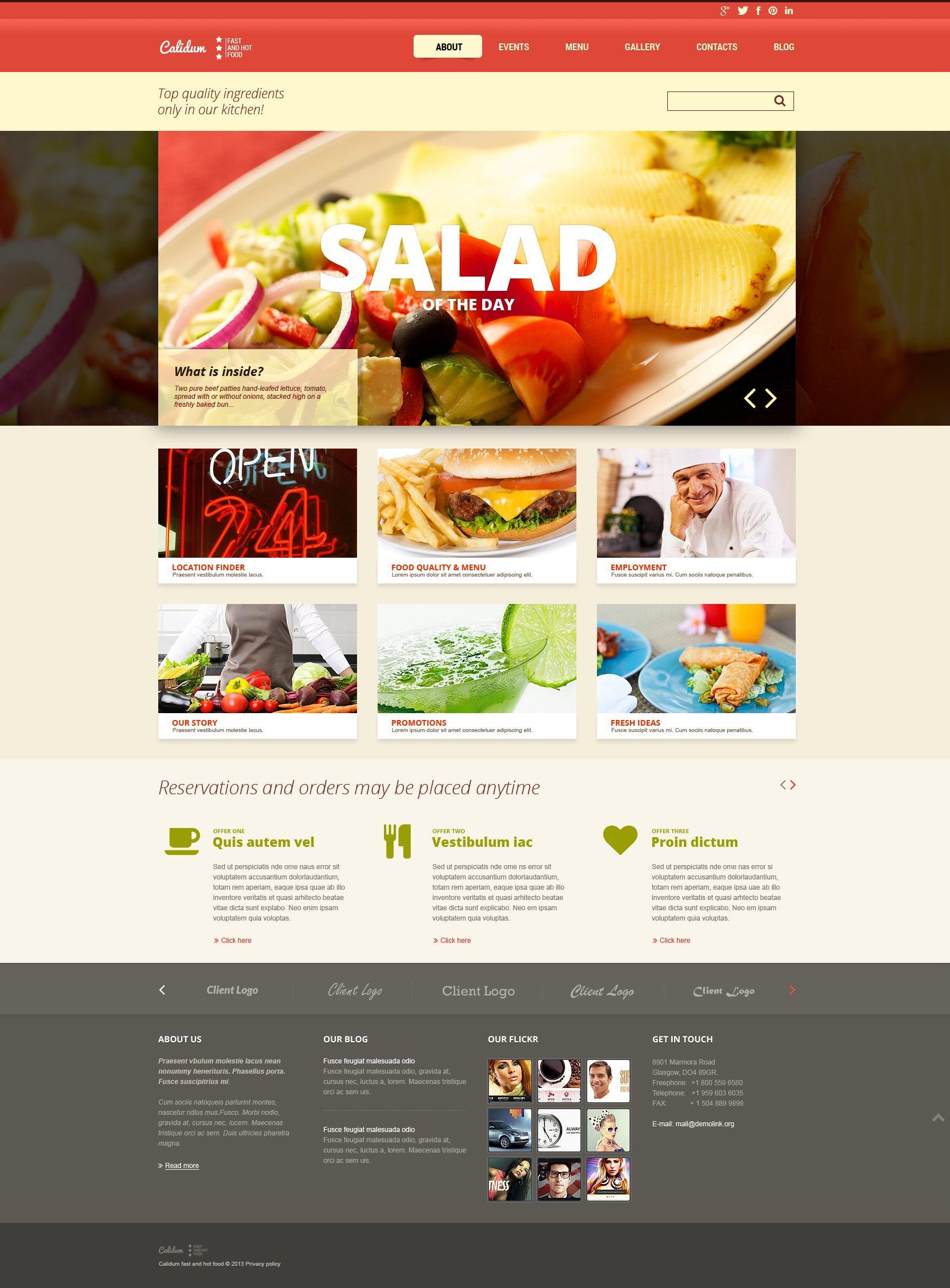 Fast food restaurant responsive joomla template 48264 for Cuisine website