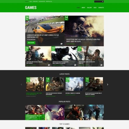 Games  - WordPress Template based on Bootstrap