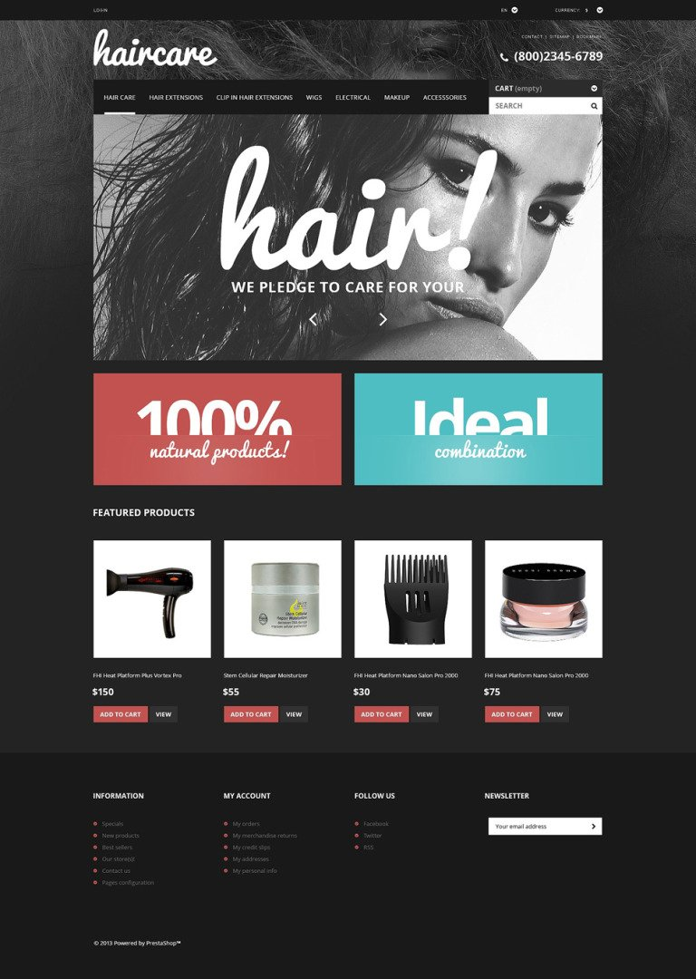 Hair Care Products Store PrestaShop Theme New Screenshots BIG