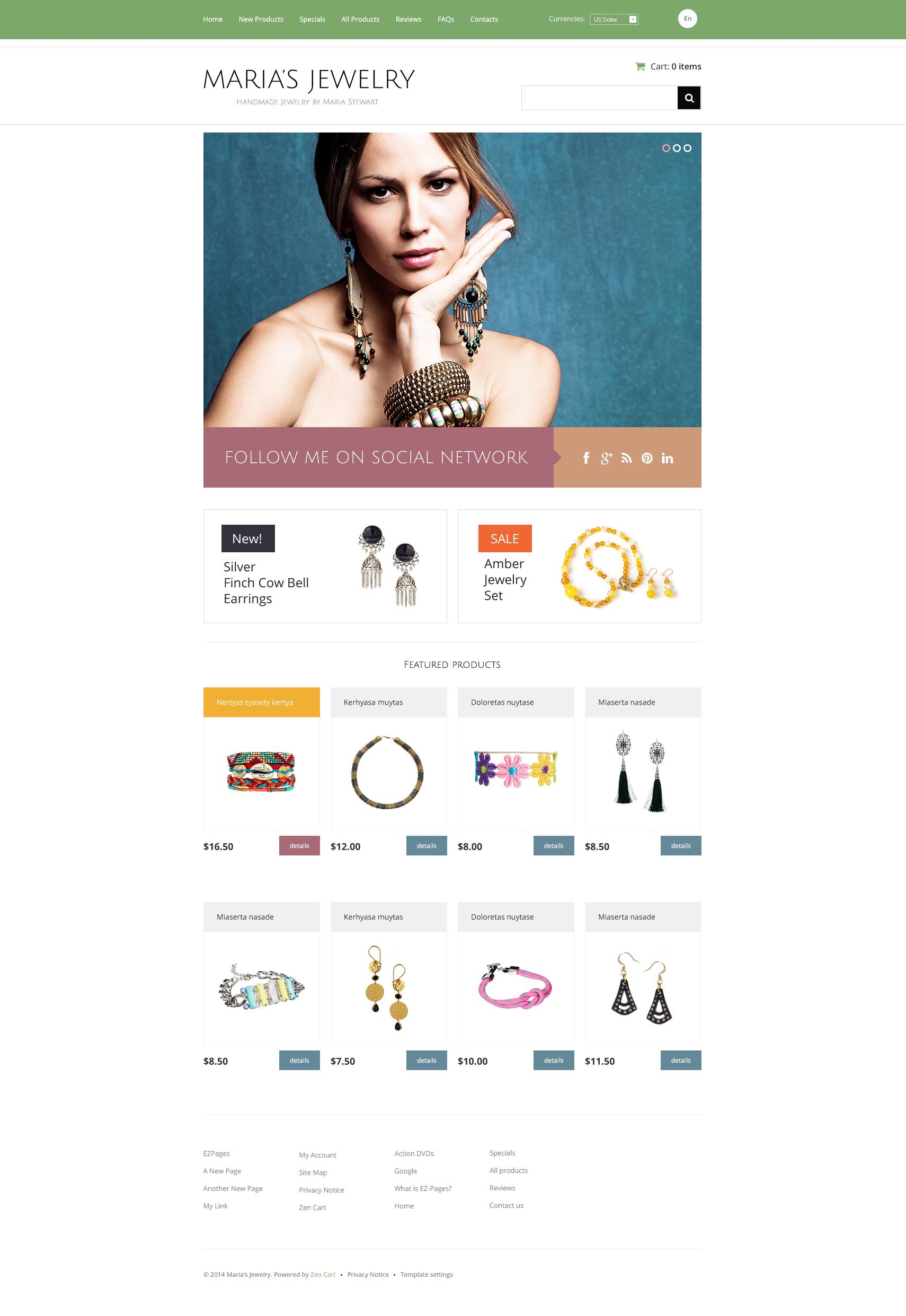 Handmade Jewelry ZenCart Template - screenshot