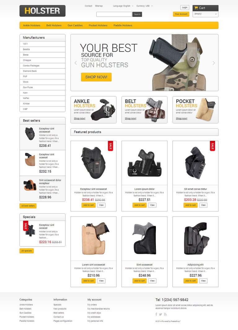 Holsters for Cool Guys PrestaShop Theme New Screenshots BIG