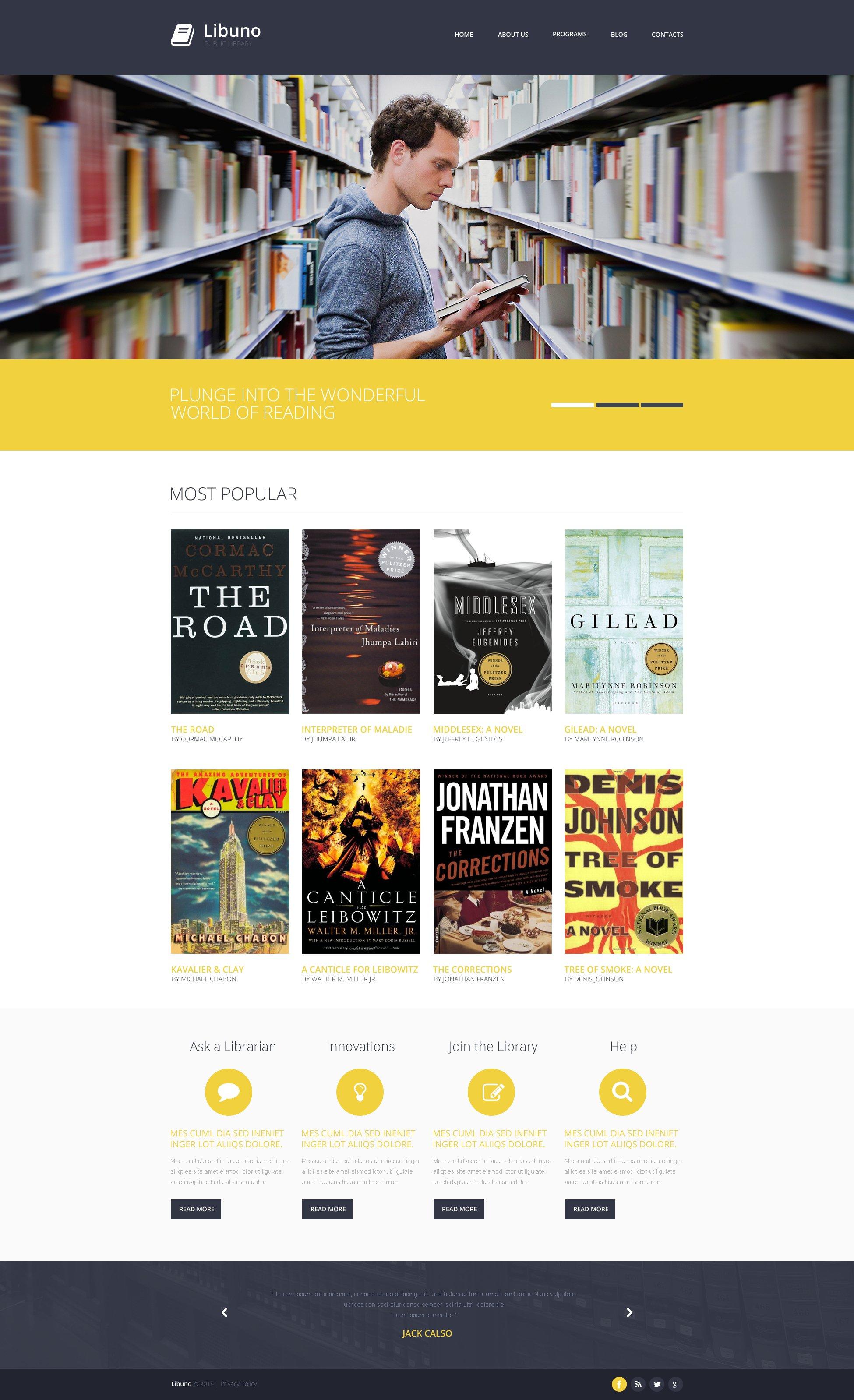 Responsive Website Templates | Library Responsive Website Template 48292