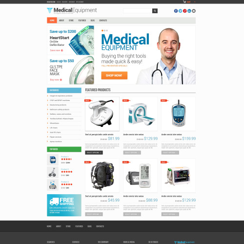 Medical Equipment - WooCommerce Template based on Bootstrap