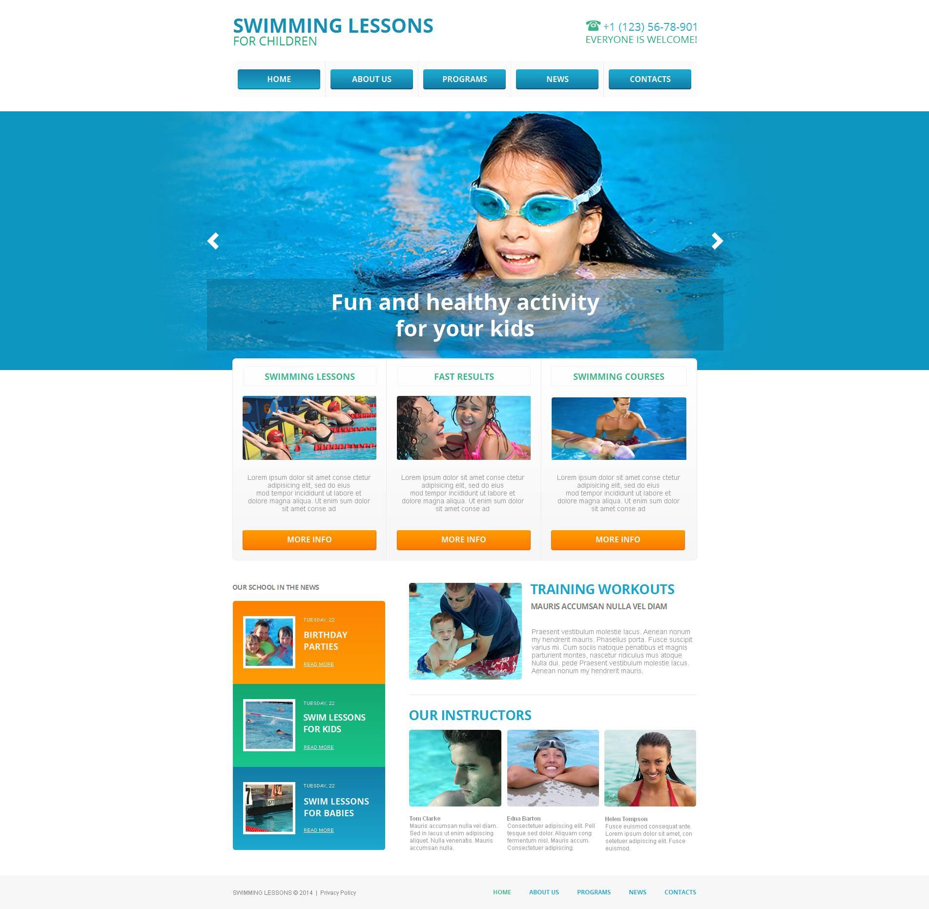 MotoCMS HTML шаблон №48211 на тему школа плавания
