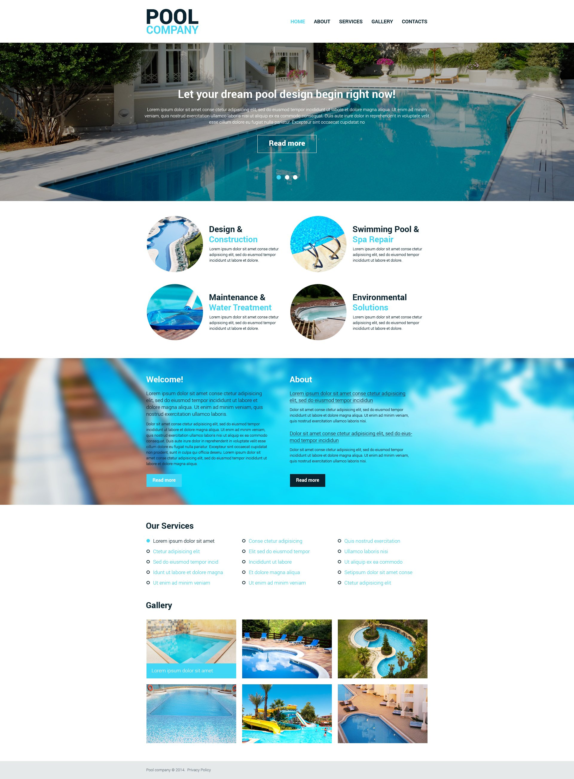 Pool cleaning responsive website template 48287 for Pool design services