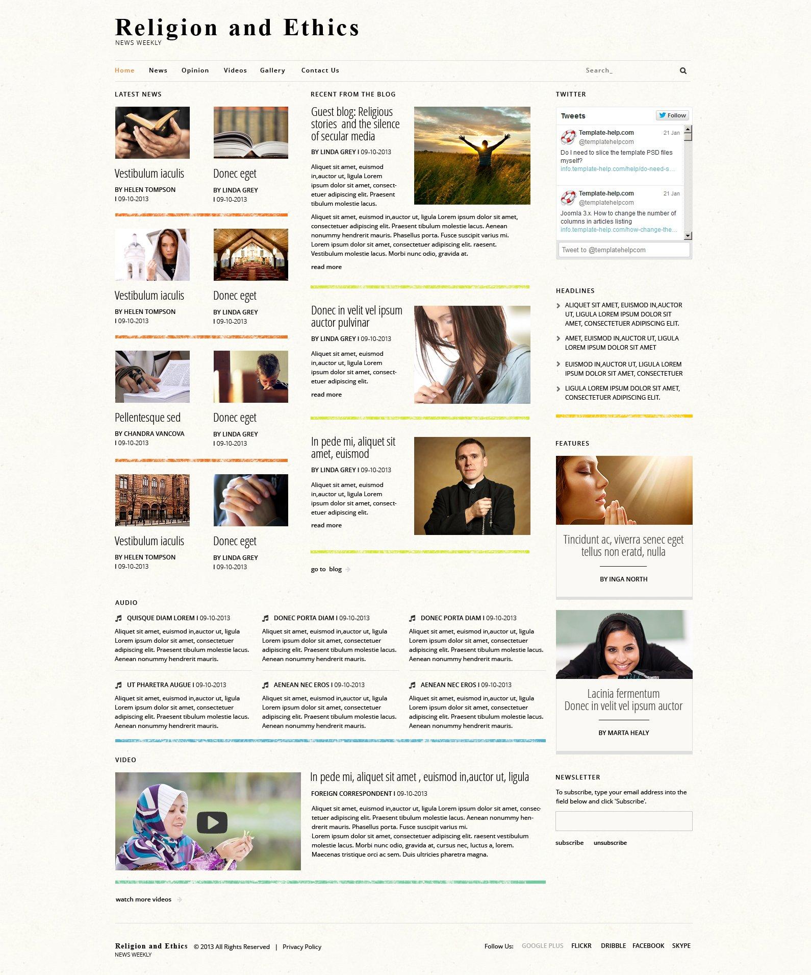 """""""Religious News"""" Responsive Joomla Template №48241"""