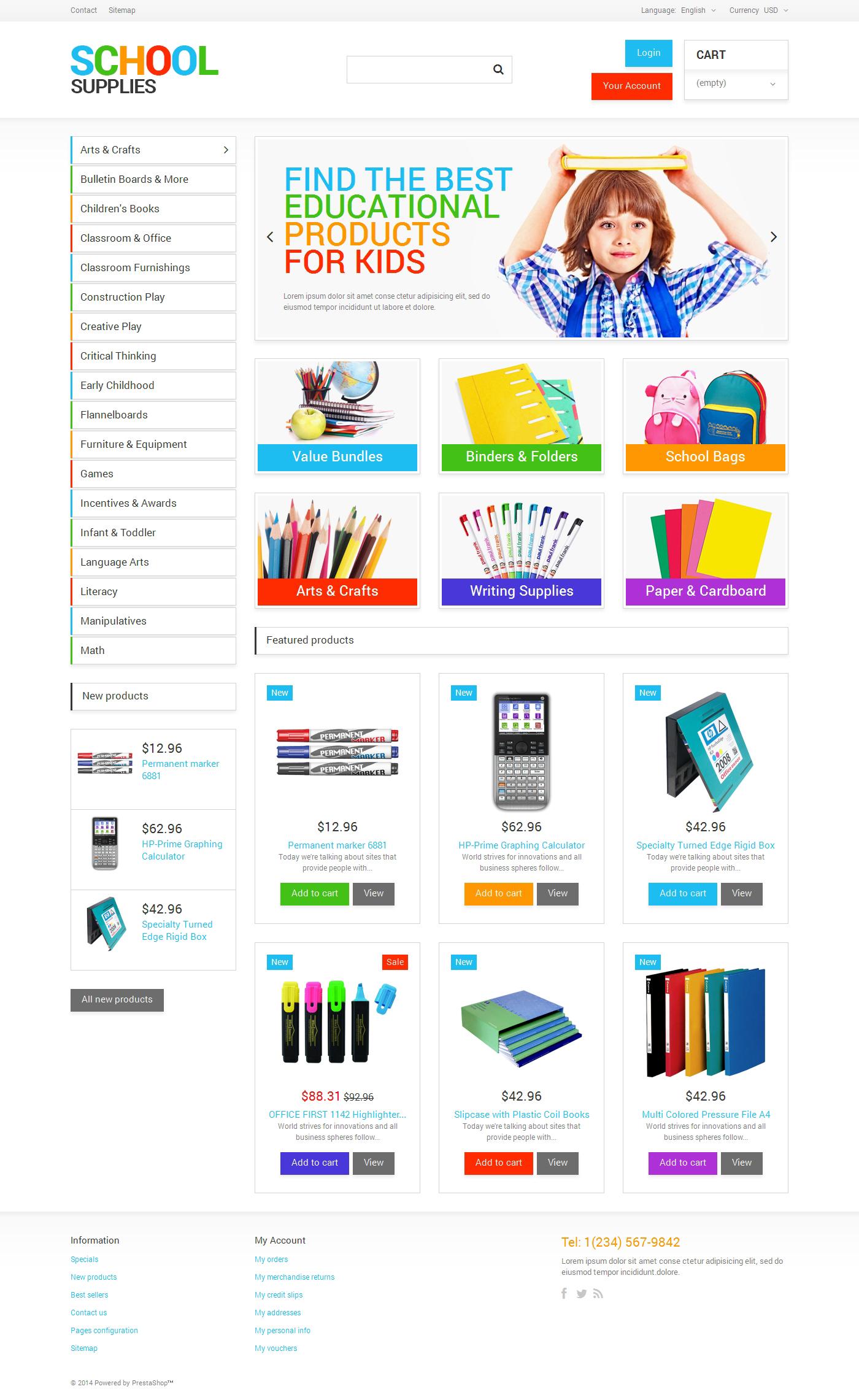 School Supplies PrestaShop Theme #48240