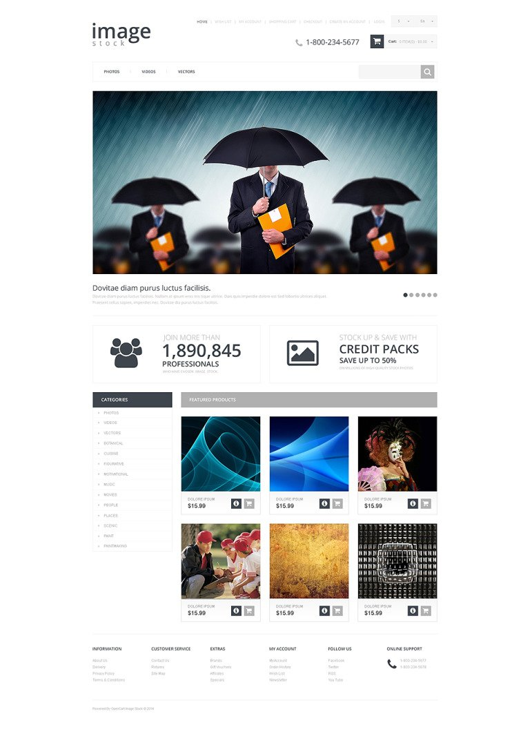 Stock Photo Responsive OpenCart Template New Screenshots BIG