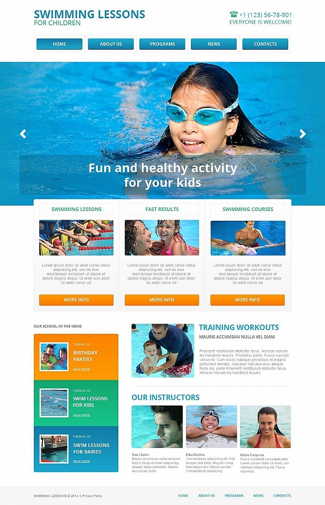 Swimming School Moto CMS HTML Template New Screenshots BIG