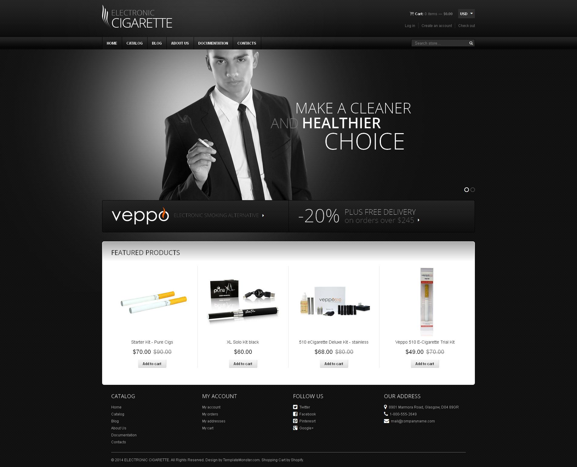 Tema de Shopify Flexível para Sites de Tabaco №48257