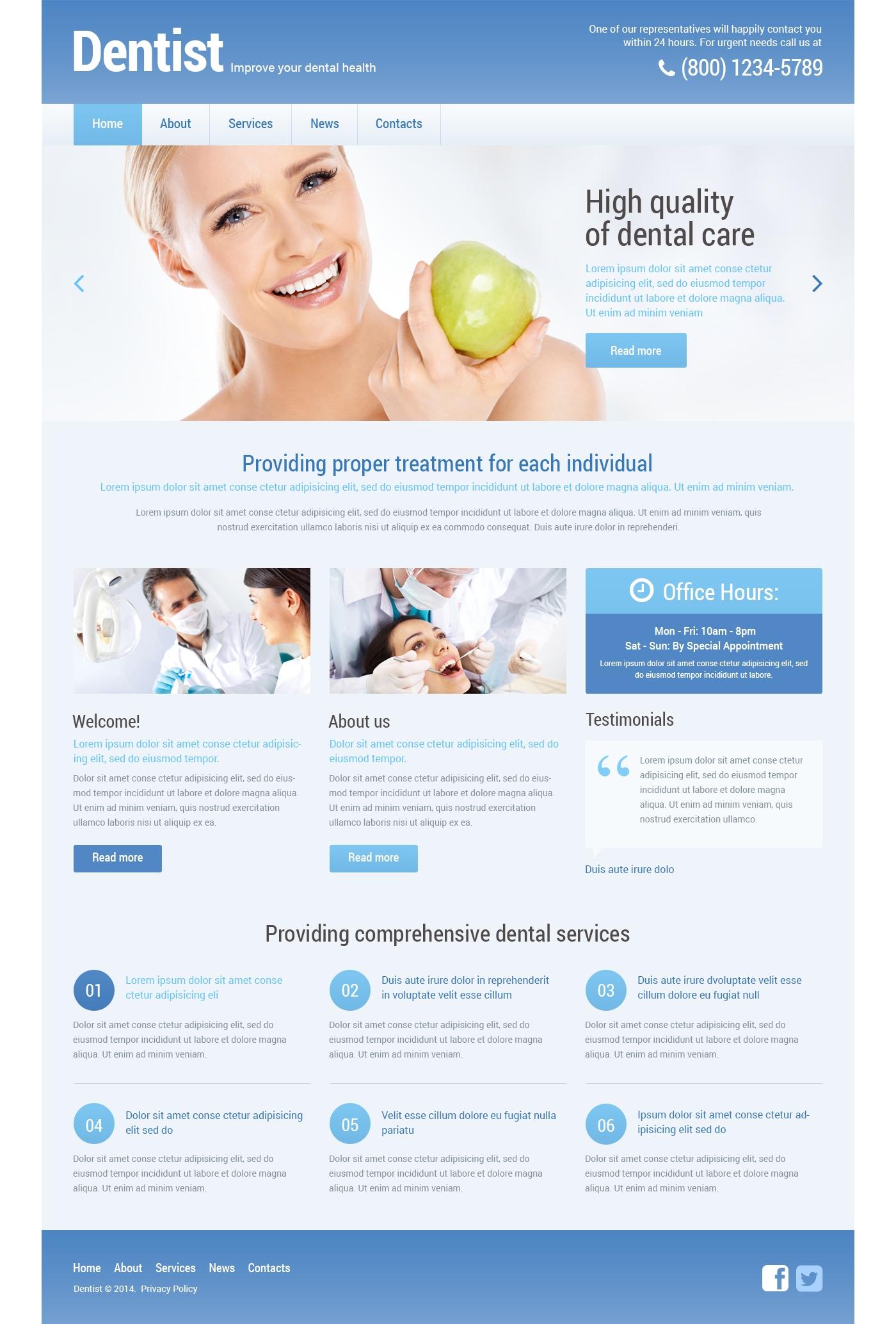 Tema De WordPress Responsive para Sitio de Odontología #48295 - captura de pantalla