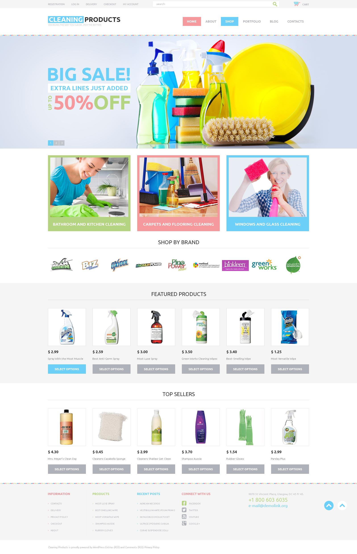 Tema WooCommerce Flexível para Sites de Limpeza №48265