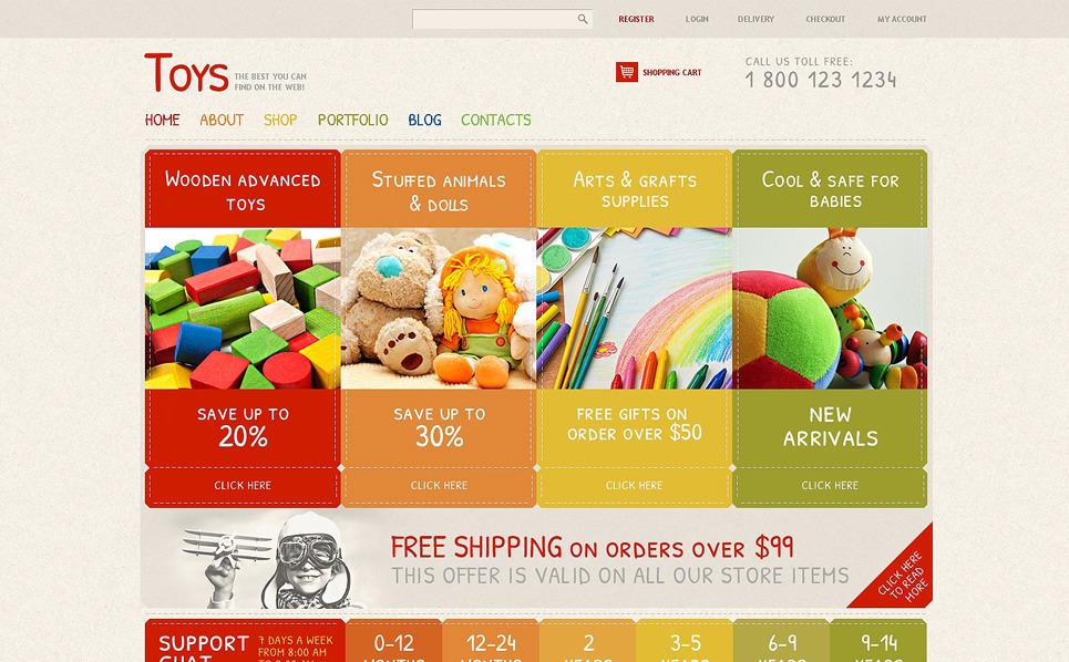 Template WooCommerce Responsive #48298 per Un Sito di Negozio di Giocattoli New Screenshots BIG