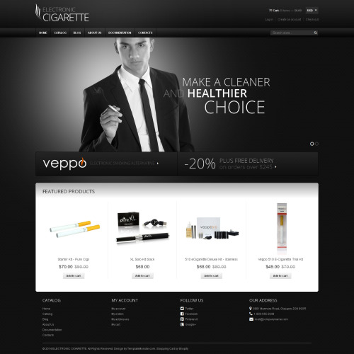 Electronic Cigarette - Shopify Template based on Bootstrap