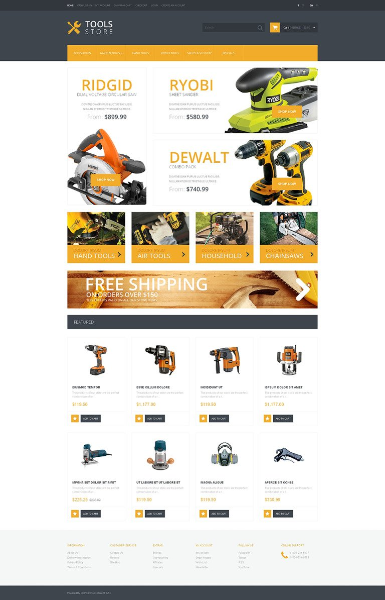 Tools & Equipment Responsive OpenCart Template New Screenshots BIG