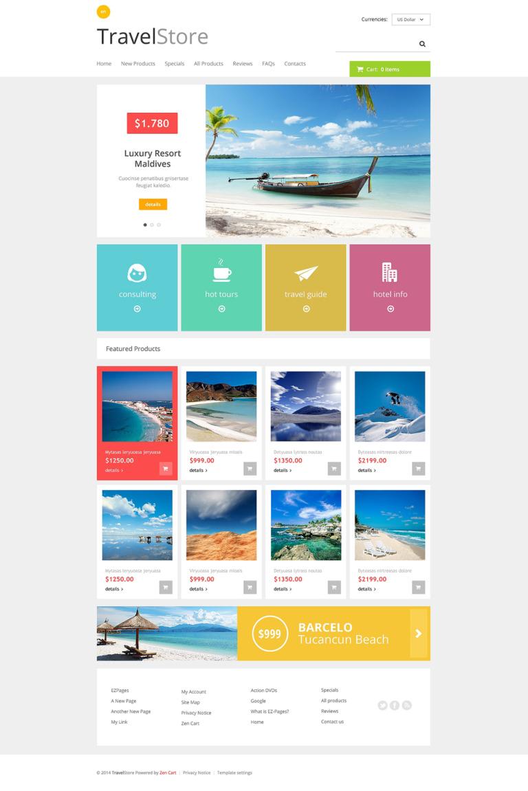 Travel Store ZenCart Template New Screenshots BIG