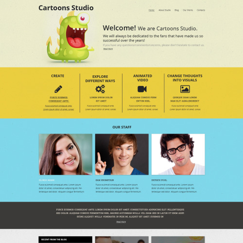 Cartoons Studio - HTML5 Drupal Design Studio Template