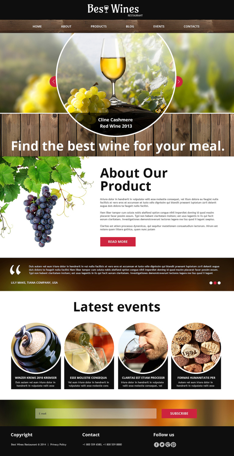 Wine Restaurant Joomla Template New Screenshots BIG