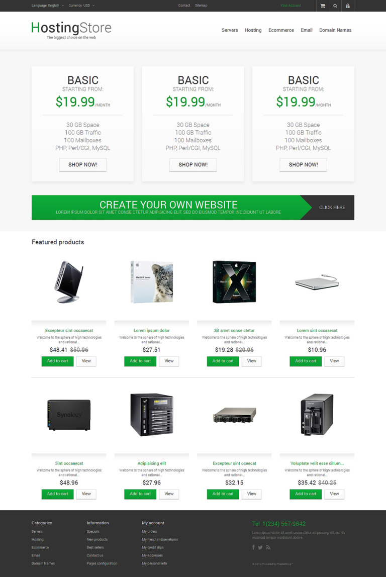 Your Hosting Store PrestaShop Theme New Screenshots BIG