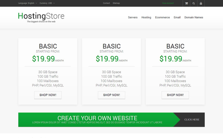 Your Hosting Store PrestaShop Theme