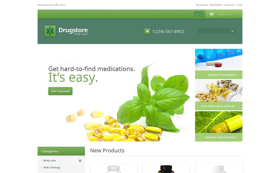 Адаптивний Magento шаблон на тему аптека New Screenshots BIG