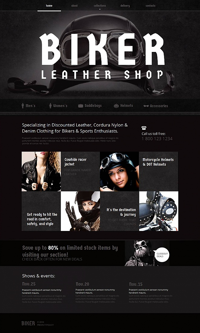 Black and White Website Template for Bikers - image