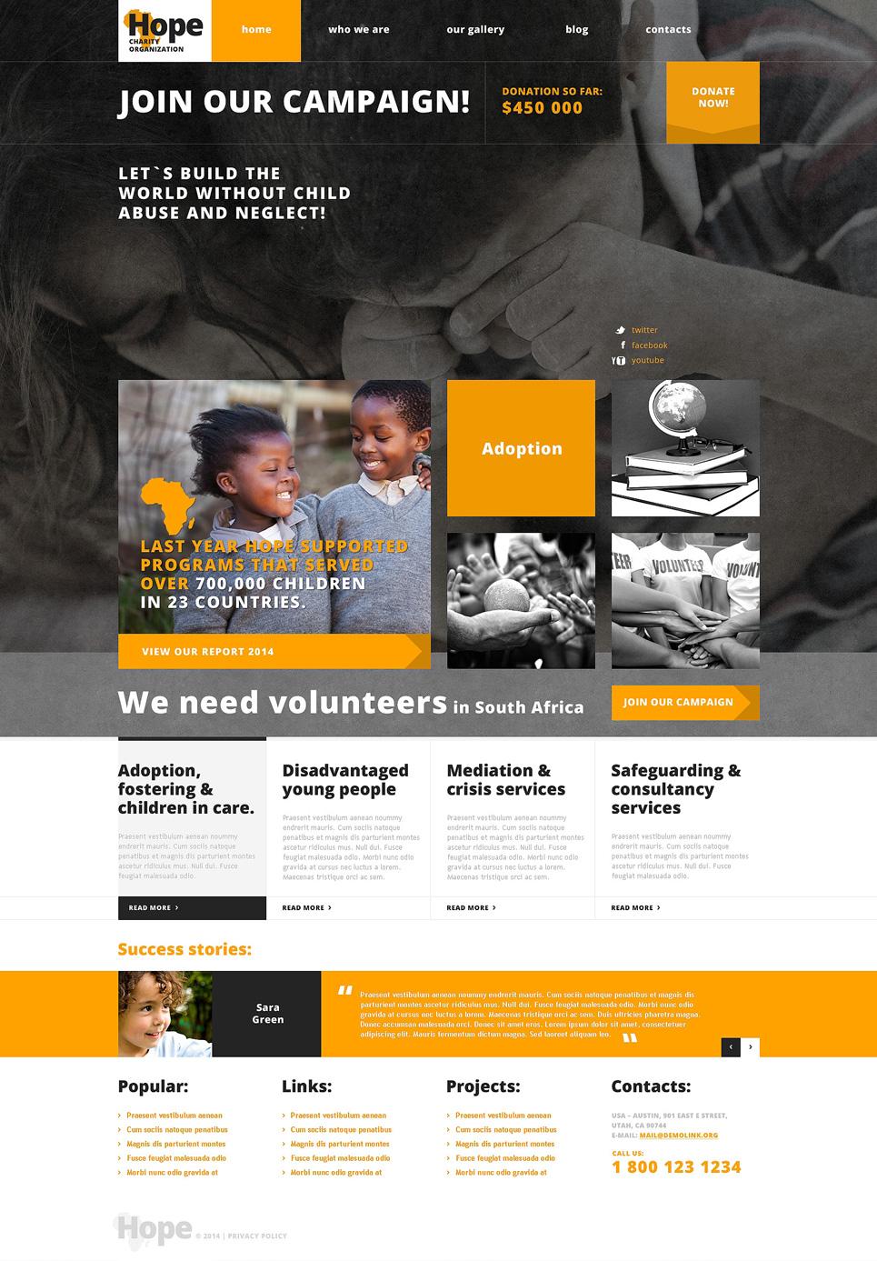 Адаптивный шаблон сайта на тему благотворительность #48301