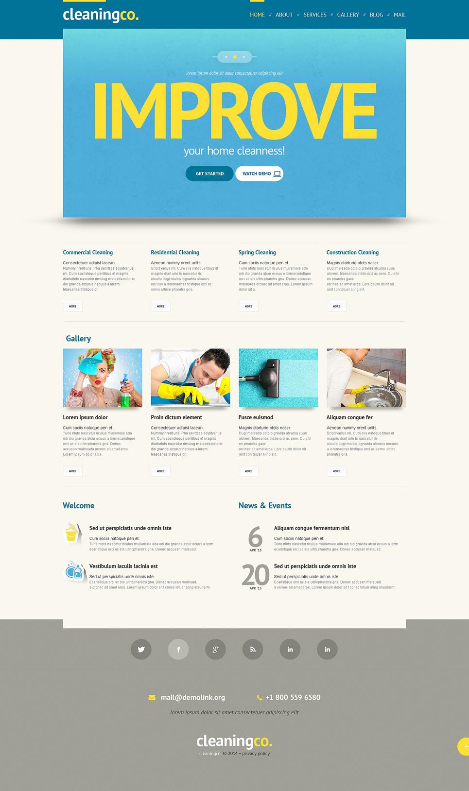 Адаптивный шаблон сайта на тему клининговая компания #48343