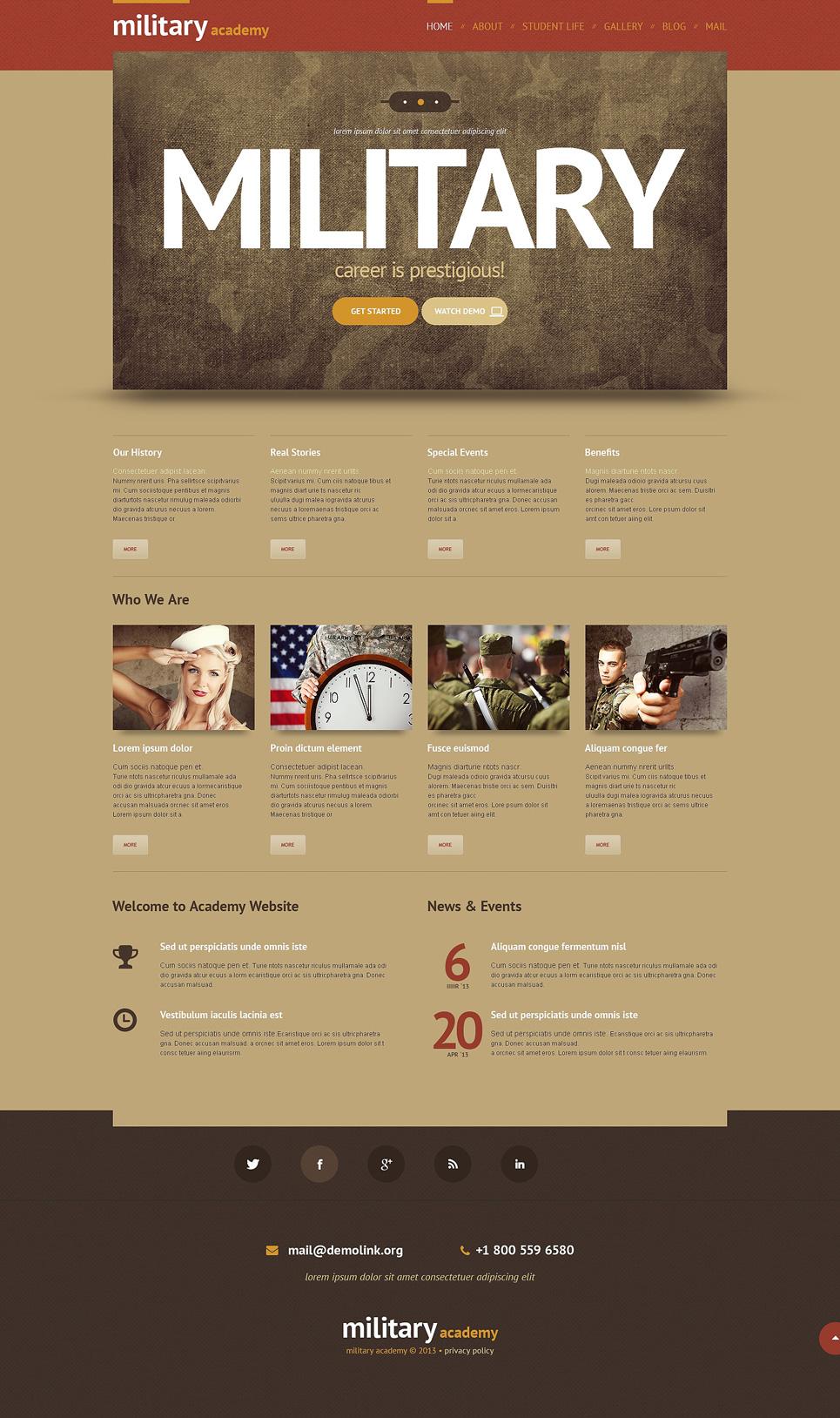 Адаптивный шаблон сайта на тему армия #48345