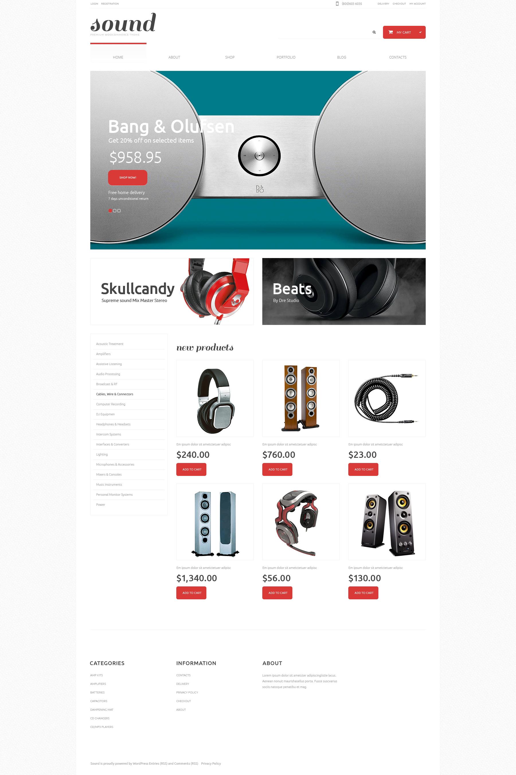 Audio Store Responsive WooCommerce Theme