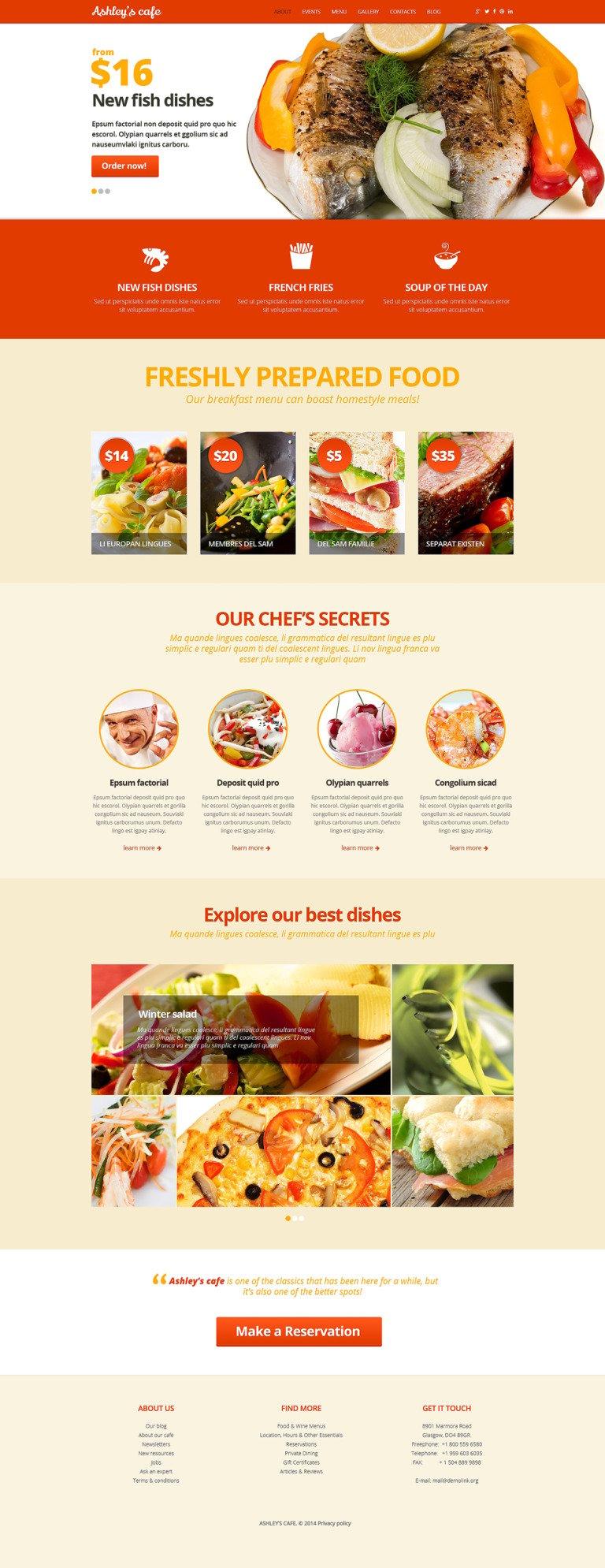 Cafeteria Joomla Template New Screenshots BIG