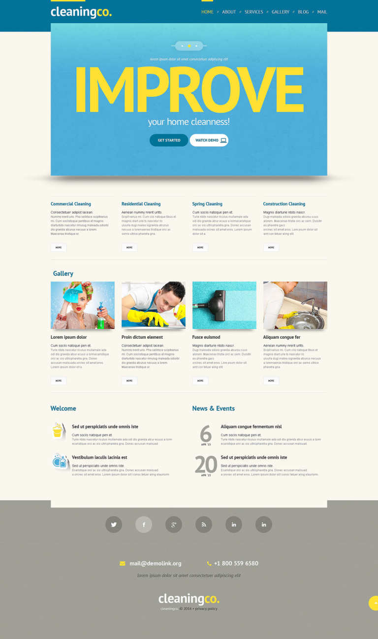 Cleaning Responsive WordPress Theme New Screenshots BIG