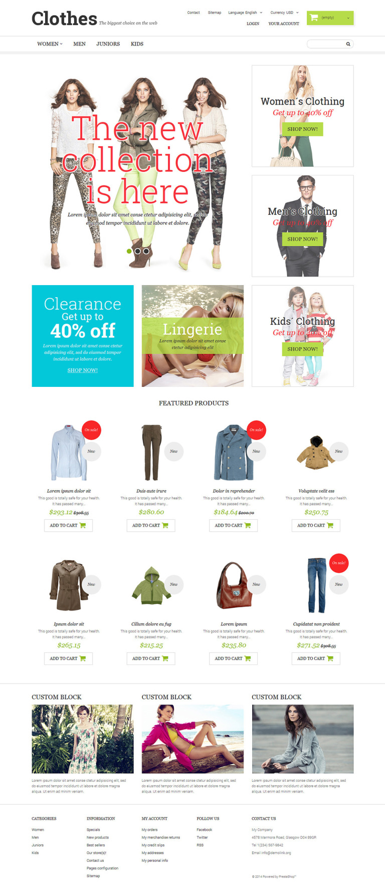 Clothing Fashion PrestaShop Theme New Screenshots BIG