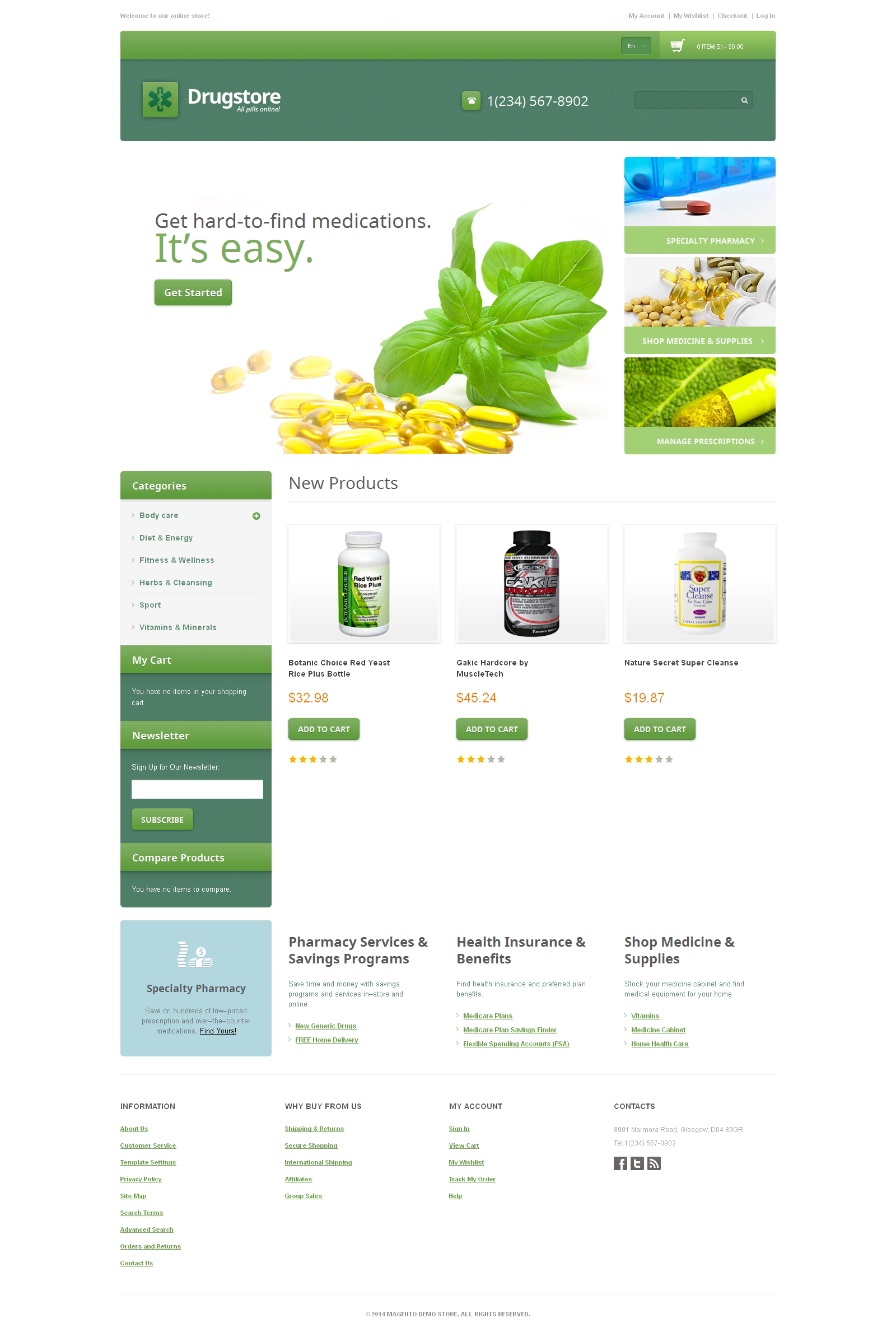 Drug Store Responsive Magento Theme - screenshot