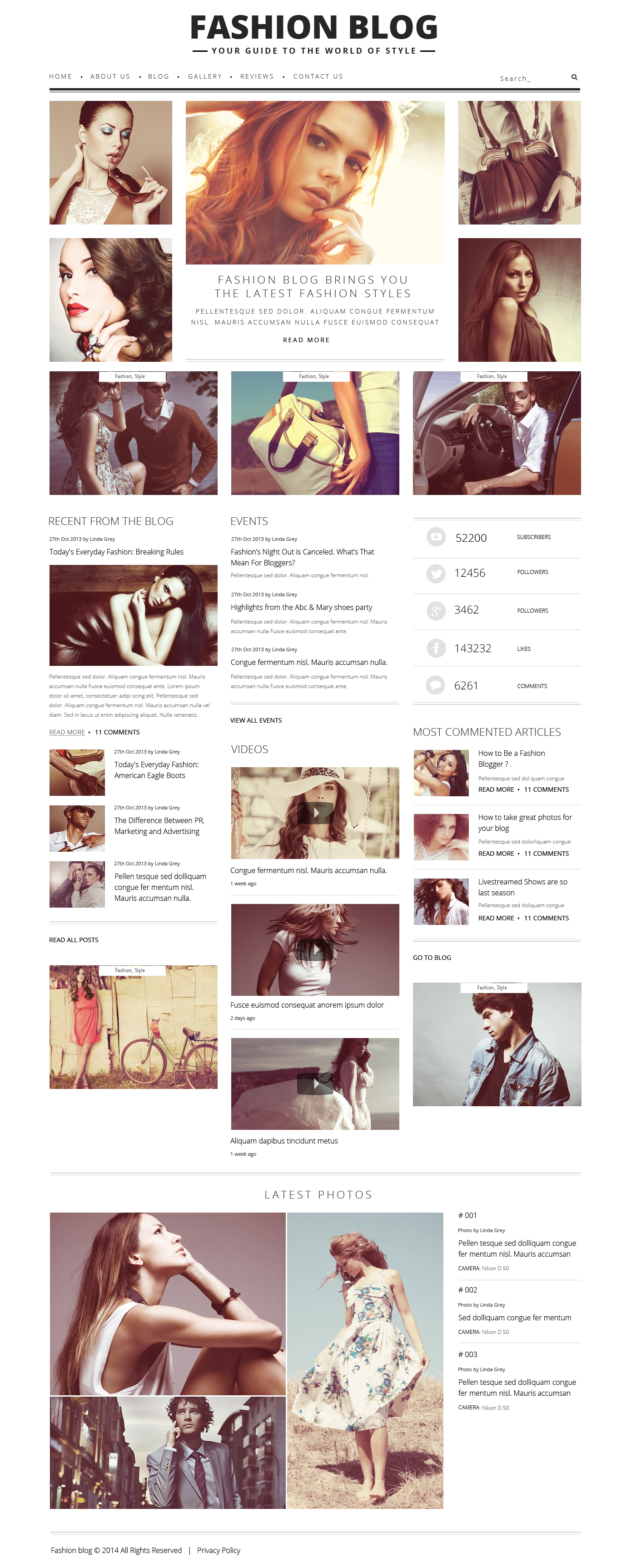 """""""Fashion Blog"""" - WordPress шаблон №48361 - скріншот"""