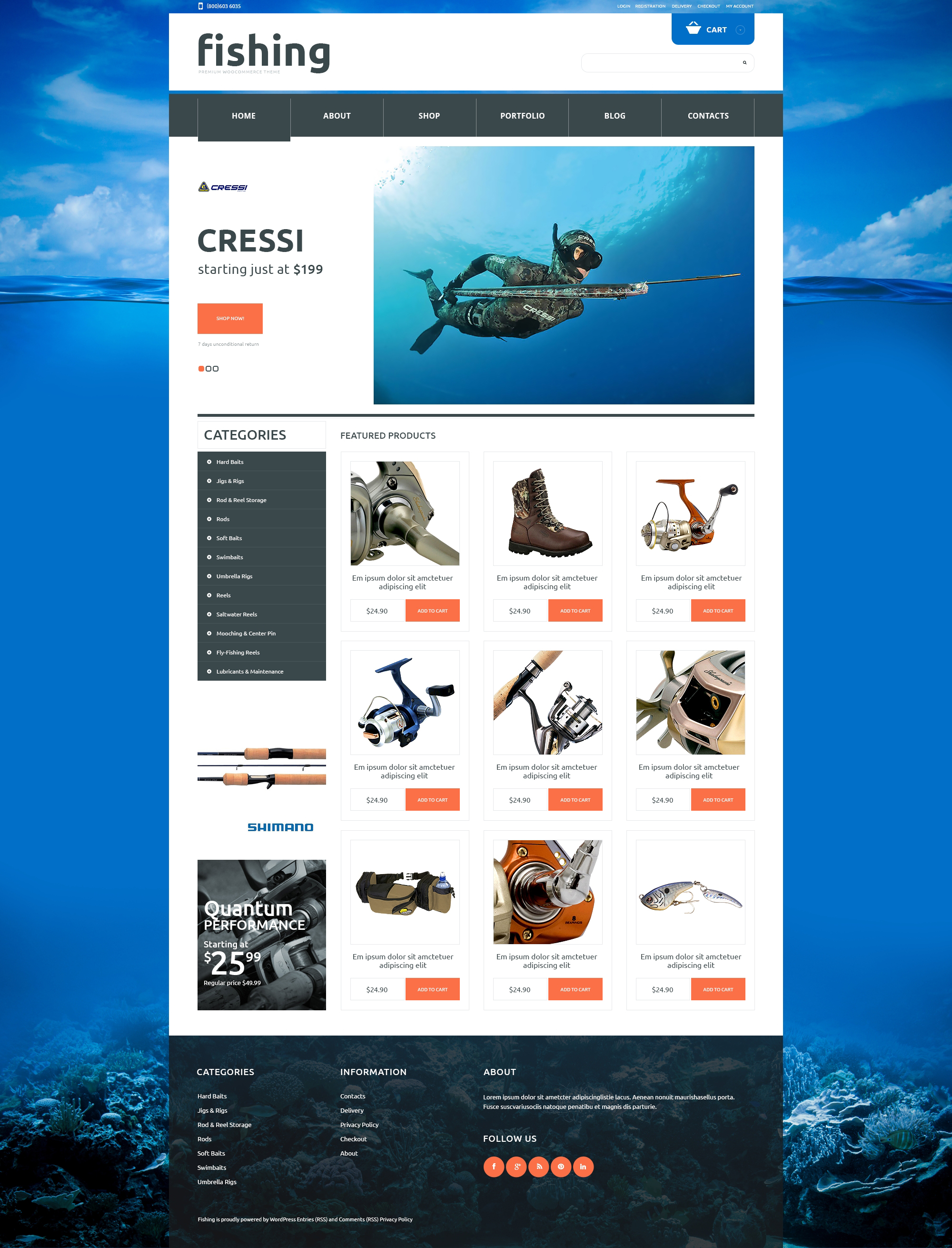 Fishing Responsive WooCommerce Theme - screenshot
