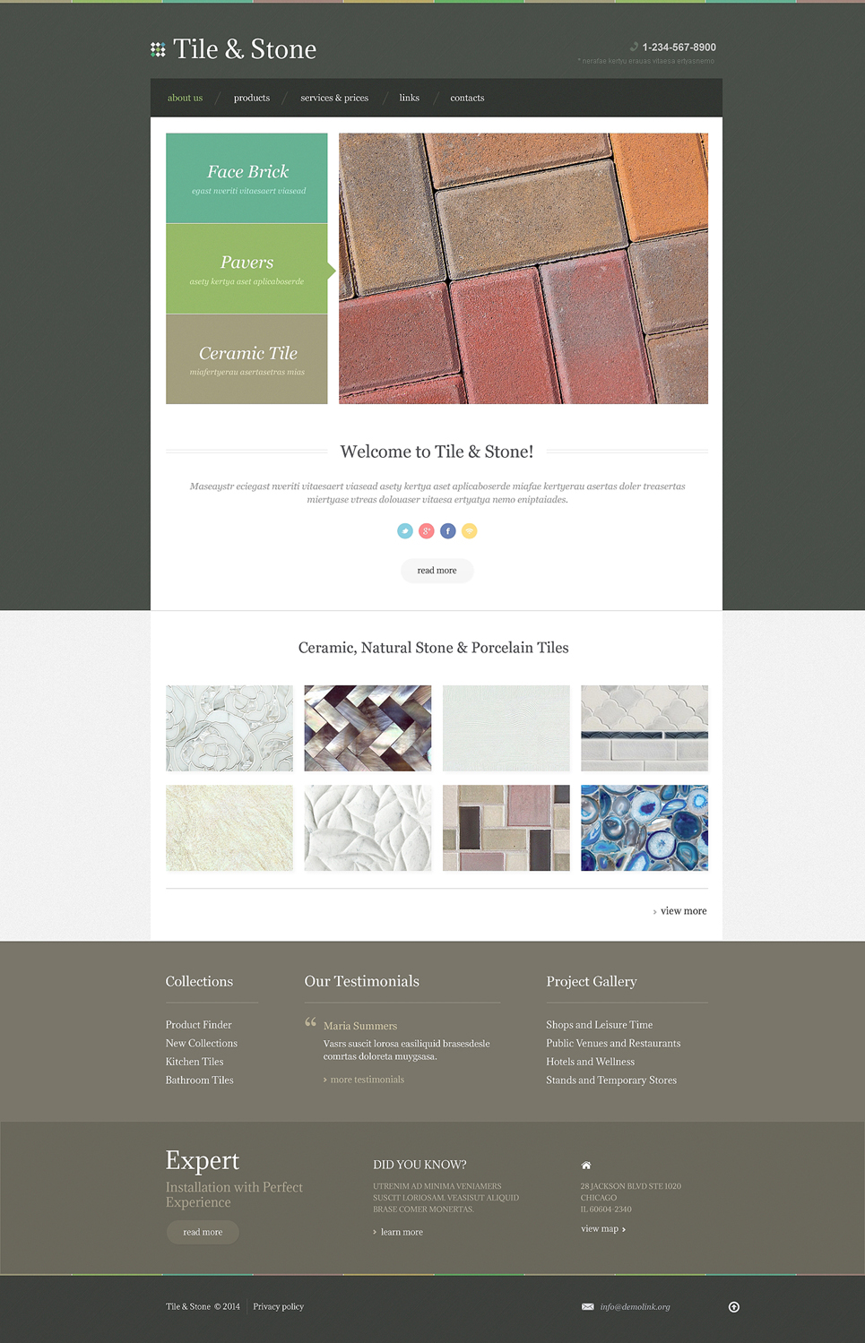 Demo Preview for Flooring Responsive Website Template #48395