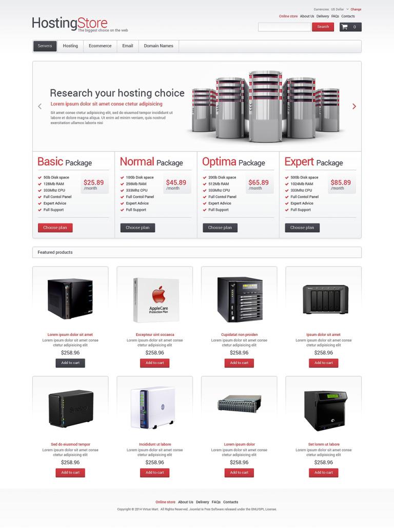 Hosting of the Future VirtueMart Template New Screenshots BIG