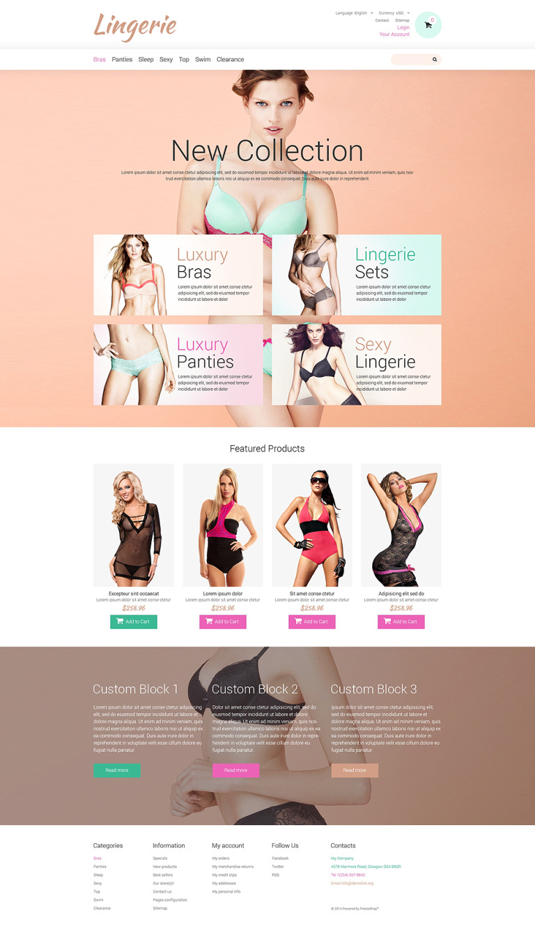 Lingerie for Tender Women PrestaShop Theme New Screenshots BIG